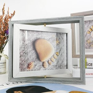 Creative Rotating Wood Photo Frame Nordic Style Pictures Poster Painting Frames Tabletop Home Decoration