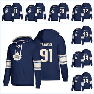2019 Toronto Maple Leafs Hoodies Frederik Andersen 91 John Tavares 16 Mitchell Marner 34 Matthews Cualquier nombre Número Sudaderas con capucha de hockey Suéter