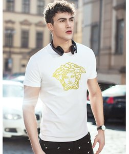 ve̴rsace Line Tie Dyed T SHIRTS Summer Fashion Pockets Designer Casual Beach Hombres Tees Mens