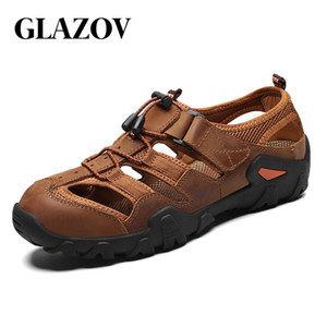 Glazov 2020 neue große Größe echtes Leder-Rind Männer Sandalen Sommer Qualitäts-Strand-Hausschuhe beiläufige Turnschuh-Outdoor-Strand-Schuhe