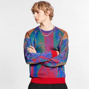 Collar Estilo Europeu Moda JACQUARD Crewneck Sweater Alta Qualidade Rodada Mens e mulheres casal High Street Woolly HFXHMY019