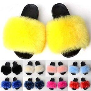 Fur Slippers Women Fur Slides Home Furry Flat Sandals Female Cute Fluffy House Shoes Woman Luxury 2020