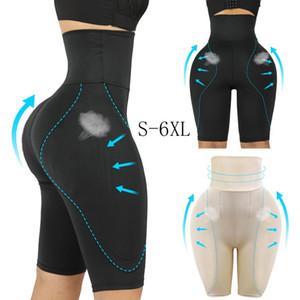 Las mujeres CULO FALSO talle alto Side botín acolchada sin fisuras de control de la panza bragas Fajas Boxer Hip Enhancer ropa interior Butt Lifter más el tamaño