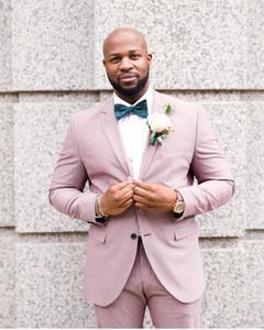Yeni Tasarım Pembe Damat Smokin Groomsmen Notch Yaka Best Man Suit Düğün erkek Blazer Custom Made Suits (ceket + Pantolon)