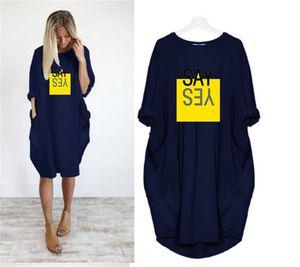 Plus Size Designer-Frauen-Kleid-beiläufiger loser Letter Print Langärmlig Solid Color T-Shirt-Kleid-Frühlings-Sommer-Mode für Frauen Kleider