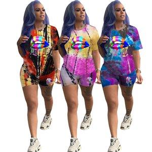 Women Summer 2 Piece Outfit Short Sleeve O Neck Dye Tie Cartoon Print Shirt Bodycon Short Set Jumpsuit Rompers