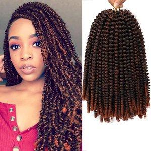 8 '' 110g Ombre Extension de cheveux Crochet ressort Twist Crochet Tresses synthétique Tressage cheveux Jamaïque Bounce Fluffy Twist