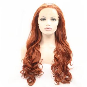 Glueless sintetica Lace Front parrucca arancione colore riccio lungo ondulate termoresistenti parrucche sintetiche per le donne Cosplay Halloween o il partito Parrucche