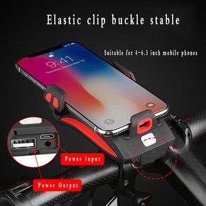 4 en 1 soporte para teléfono multifuncional de bicicletas teléfono móvil linterna de la bicicleta de carga móvil del tesoro cuerno de la bicicleta