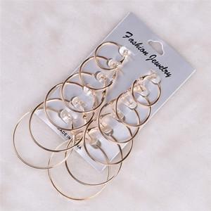 6 Çiftler / Set Vintage Gümüş Altın Büyük Çember Hoop Küpeler kadınların Bildirimi Punk Kulak Clip için