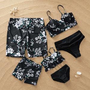 Praia Swimsuit Família Roupas combinando Look Mãe Filha Swimwear Mamãe e Me Bikini Dress Roupas Dad Filho Natação Troncos