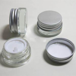 500pcs 5g Klarglas-Cremetiegel mit silbernem Aluminiumdeckel, 5-Gramm-Kosmetikglas, Verpackung für Probe / Augencreme, 5g Mini-Glasflasche lin4625