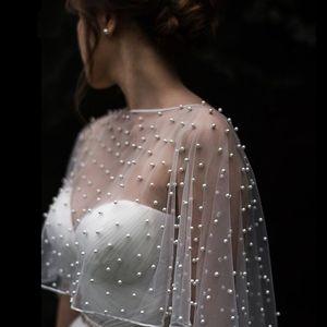 Cheap Wedding Accessories Bolero Bridal Cloak Pearls Wedding Cape short front long back Women Wrap Cape Evening Wrap Shawl