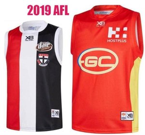 2019 St. Kilda Santos Gold Coast Suns chaleco Jersey St. Kilda Santos Gold Coast Suns mangas Fútbol australiano AFL Jersey VENTA CALIENTE
