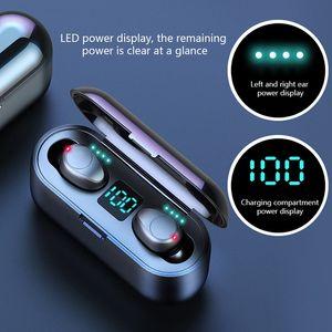 Wireless Display fone de ouvido Bluetooth V5.0 F9 TWS sem fio Bluetooth LED Headphone Com Auriculares 2000mAh Power Bank com microfone