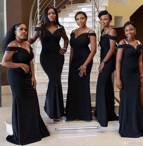 2020 Плюс Размер African Black Длинные Дешевые Mermaid платья невесты плеча Формальное свадебное платье для гостей Robe d'INVITE де Mariage vestidos