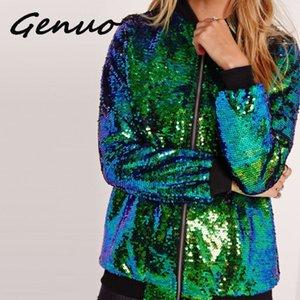Genuo Autunno Inverno donne paillettes cappotto Moda manica lunga lucida Bomber Zipper Streetwear allentati casuali glitter Outerwear