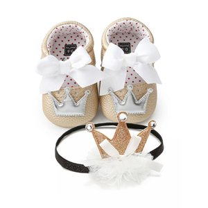 Infant Non-slip Toddler Kids Baby Shoes Newborn Baby Girl Sequins Bowknot Girls Soft Sole Crib Bow Shoes First Walker +Headband
