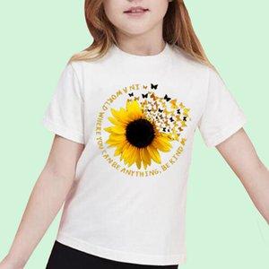 Funny Cartoon T Shirt Children Sunflower Print Boys Girls T-shirt Cute Fashion Casual Kids Tshirt Kawaii Top Tees Kid Short New