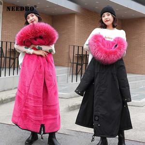Jacket NEEDBO Inverno Mulheres casaco de pele gola Parka Mujer longa das senhoras do soprador Casaco feminino elegante Casaco Feminino Parka Exteriores