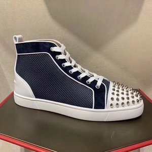 Brand Fashion Orlato Sneakers Spikes Red Bottom Shoes Mesh Leather Sneakers Top Luxury Rivets Mens Walking Flats Party Wedding EU35-47