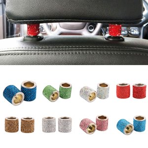 2Pcs Fashion Car Headrest Collar Bling Crystal Auto Seat Ring Interior Decoration Rings Circle Ring Cover Trim Frame Bling Crystal for BMW