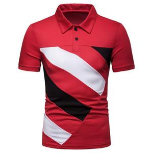 Erkek Polos Yaka Boyun Kontrast Renk Baskılı Erkek Moda Kısa Kollu Erkek Tees Lüks Patchwork Designer Tops