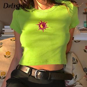 Darlingaga Moda Nervuras Néon Verde Verão Camiseta de Manga Curta Sol Bordado Colheita Tops T-shirt Para As Mulheres Neon Top Tee Casual Y19051301