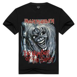 Конструкторы футболки мужчин и женщин черные футболки с коротким рукавом Rock Iron Maiden Rock Band # 9031