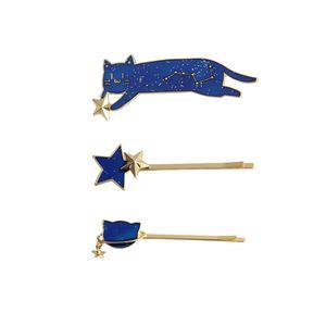 3 unids / set Fashion Blue Cat Hairpin Star Animal Hairpin Hair Clip Mujeres Niñas Hair Pin Jewelry Beauty Hair Accessories