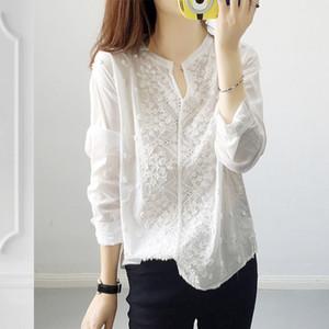2020 Printemps FEMMES Robe, col en V à manches longues brodé stéréo imprimé floral Pull ample chemise blanche