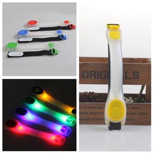Led de silicona Brazalete reflectante de seguridad Luz de advertencia Luz de noche de los deportes zapatillas de running clips de seguridad de la luz pulsera T2I5753