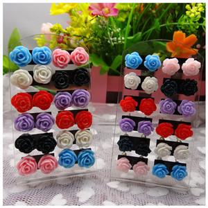 Top-Qualität Art und Weise Mehrfarbenharz 10MM Rose Ohrringe Blumen-Bolzen-Ohrring-Frauen-Blumen-Ohrringe Schmuck TL1