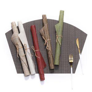 9 cores em forma de leque Louça Pad PVC estilo ocidental Food Mat antiderrapante isolamento térmico Placemat 45 * 30 centímetros Tabela Mat ZZA1211