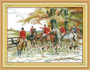 Chasse animal décoration peinture à la main, ensembles de travaux de broderie point de croix à la main compté impression sur toile DMC 14CT / 11CT