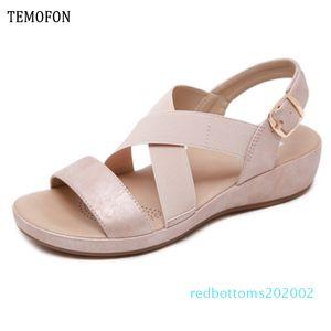 daireden 36-42 r02 ayakkabısı TEMOFON 2020 yaz kadın ayakkabı sandalet peep toe gladyatör sandaletler kadınlar rahat kama ayakkabı bayanlar