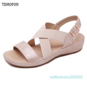 TEMOFON 2020 Sommer-Frauenschuhe Sandalen Peep Toe Gladiator-Sandalen Frauen beiläufige Keilschuhe Damen Schuhe Wohnungen 36-42 r02