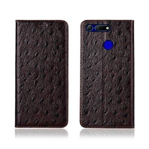 Autruche Texture Cas de Téléphone Pour Huawei Honor V20 Véritable Cuir de Vachette En Cuir Flip Carte Cas De Téléphone Pour Huawei Honor V20 Cas Stand Coque