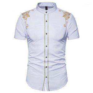 عارضة ملابس رجالي التطريز الصلبة اللون رجال اللباس قمصان طباعة القمم كم زهري قصير الصيف