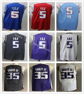 مخيط الرجال De'Aaron DeAaron 5 فوكس الفانيلة كرة السلة الزرقاء الجديدة أسود أرجواني الأبيض مارفن 35 باجلي III جيرسي كلية قمصان