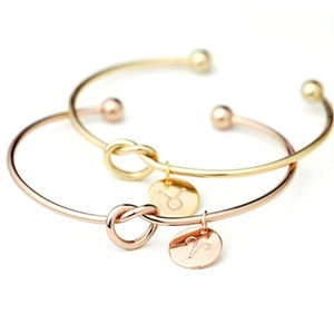 Love Knot Bangle with Cut Out Zodiac Horoscope Astrology Braccialetto Bridesmaid Proposal Gift