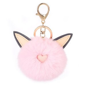 Cute Ear Plush Ball Charm Key Chains Ring Love Heart With Fur Pom Pom Ball Pendant Gold Color Metal Keychain Fit Women's HandBag