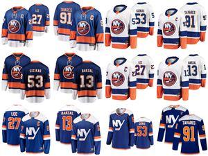 New York Islanders Jerseys Mens 53 Casey Cizikas Jersey 27 Anders Lee 91 John Tavares 13 Mathew Barzal Womens Hockey Jerseys Stitched Youth