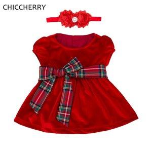 Velours Filles Rouge Robe De Noël Bandeau Bébé Fille Vêtements Vetement Bebe Fille Costume De Noël Infantil Saint Valentin Tenue J190506
