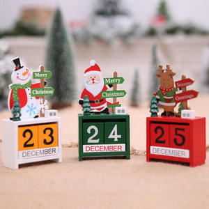 3D Christmas Holz Kalender Cute Santa Milu Deer Snowman gedruckten Kalender Kinder Geschenke Party-Geschenke Weihnachtsschmuck WY398Q