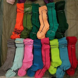 Rodilla Mujeres Niñas Rosa Negro calcetines altos medias de la manera calcetines de algodón Cheerleaders Deportes Fútbol Calcetines rosados Letter