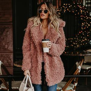 Damen Wintermantel verdicken Winter-Fluffy-Pelz-Mantel weibliche Freizeitjacke Warm Cardigan Outwear Street Plus Size