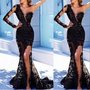 Nuevo negro atractivo de la sirena de los vestidos de noche de las mujeres del desgaste de un hombro de manga larga de encaje apliques de perlas lado alto del partido del vestido de Split Prom Vestidos