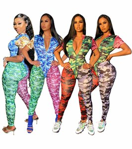 Fashion Patchwork Color Jumpsuits Short Sleeve Zipper Sexy Camouflage Rompers Onesies Ladies Casual Jumpsuit Pullover Nightclub Suit Hot