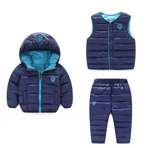 Winter Autumn Children Boys Girls Clothing Sets Warm Cotton Padded Jackets + vest + pants 3Pcs Snowsuit Children Clothes